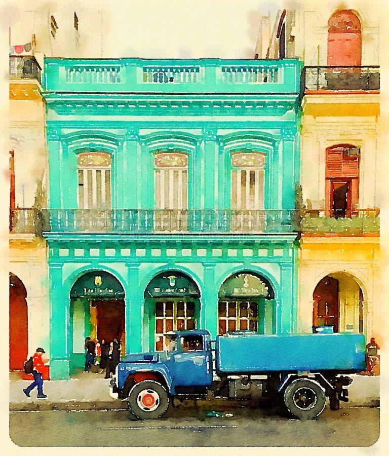 Blauwe watertankwagen in Havana in Cuba royalty-vrije illustratie