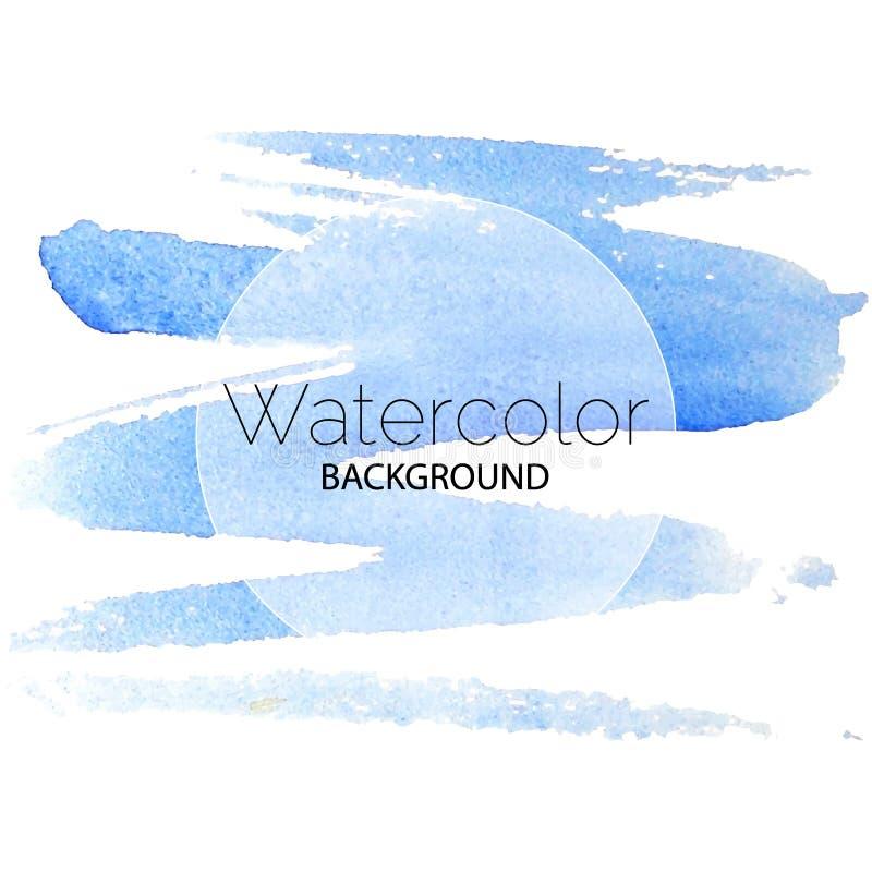 Blauwe waterverf achtergrond zwarte tekst witte cirkel royalty-vrije illustratie
