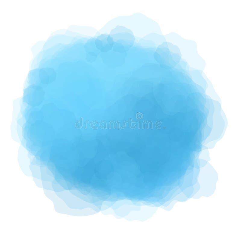 Blauwe waterverf om vlekachtergrond vector illustratie