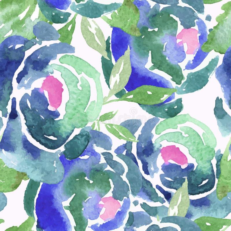 Blauwe Waterverf Rose Seamless Pattern stock illustratie