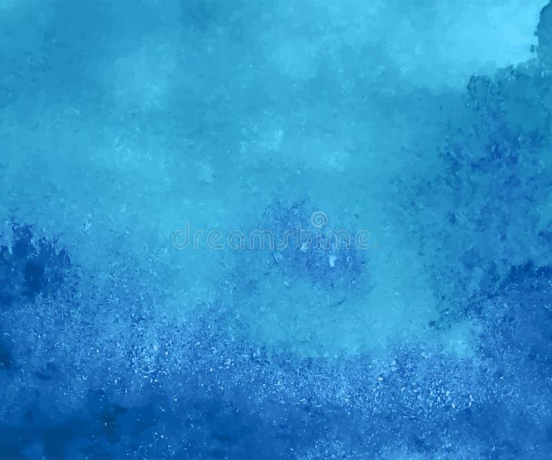 Blauwe waterverfachtergrond Hand geschilderde document textuur royalty-vrije illustratie
