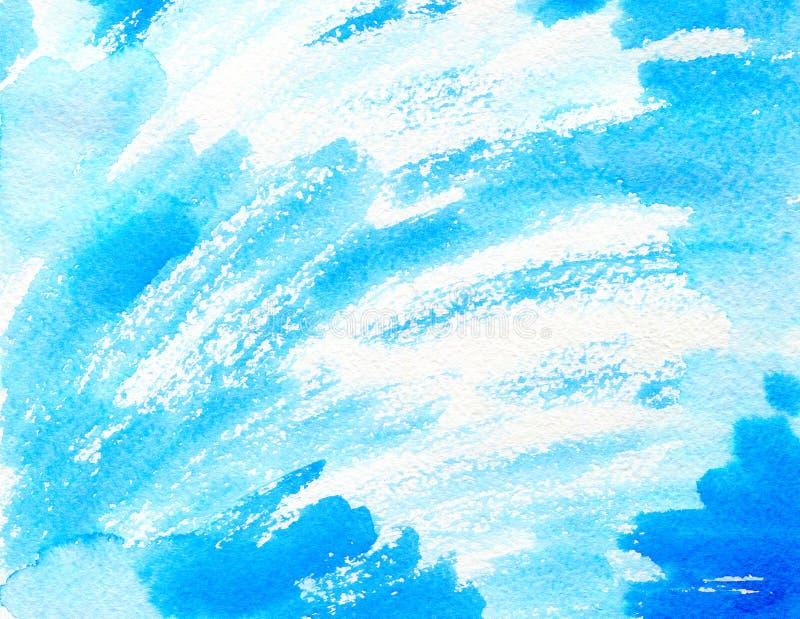 Blauwe waterverfachtergrond voor texturen en achtergronden stock foto