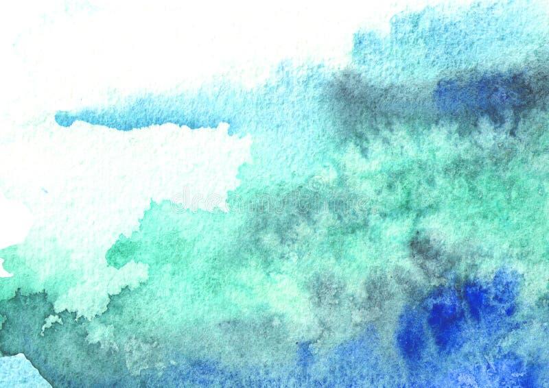 Blauwe waterverfachtergrond voor uw ontwerp Hand getrokken textuur stock afbeeldingen