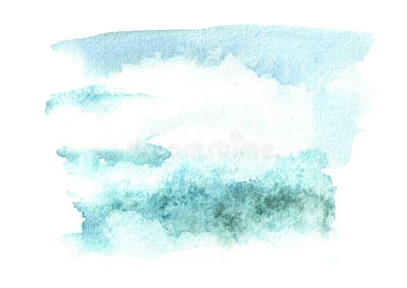 Blauwe waterverfachtergrond voor uw ontwerp Hand getrokken textuur stock foto's