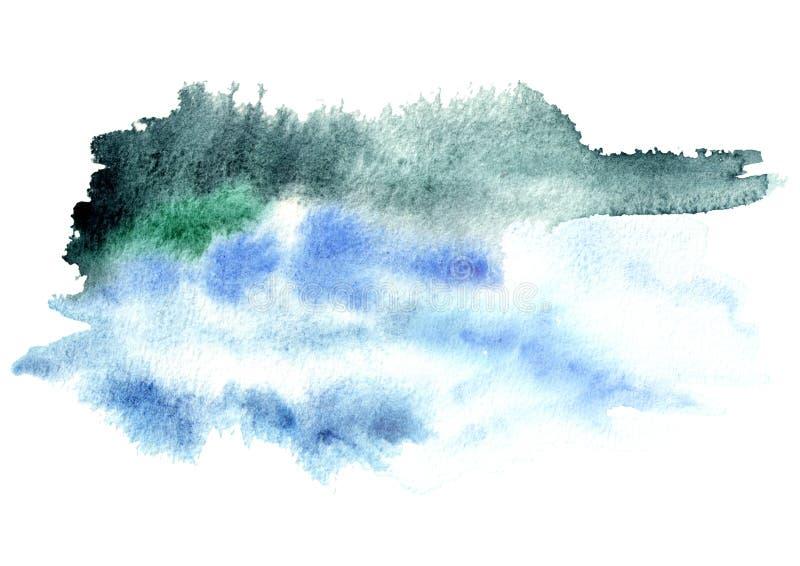 Blauwe waterverfachtergrond voor uw ontwerp Hand getrokken textuur royalty-vrije stock foto's