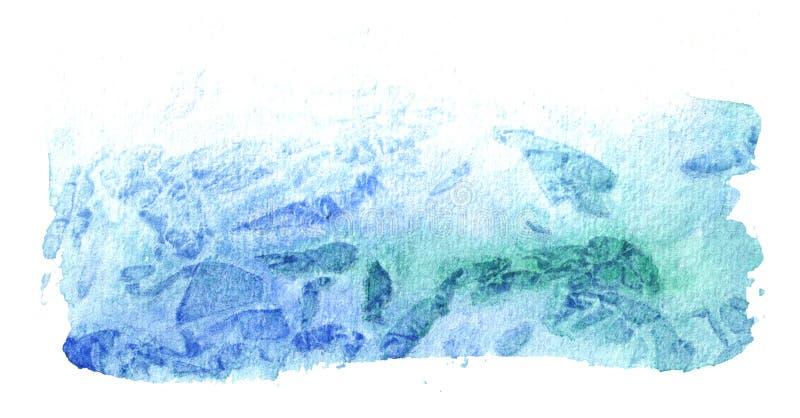 Blauwe waterverfachtergrond voor uw ontwerp Hand getrokken textuur stock afbeelding