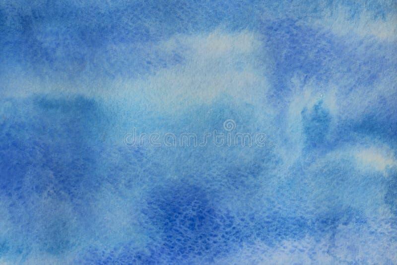 Blauwe Waterverftextuur Als achtergrond met Heel wat Exemplaarruimte voor Tekst royalty-vrije stock fotografie