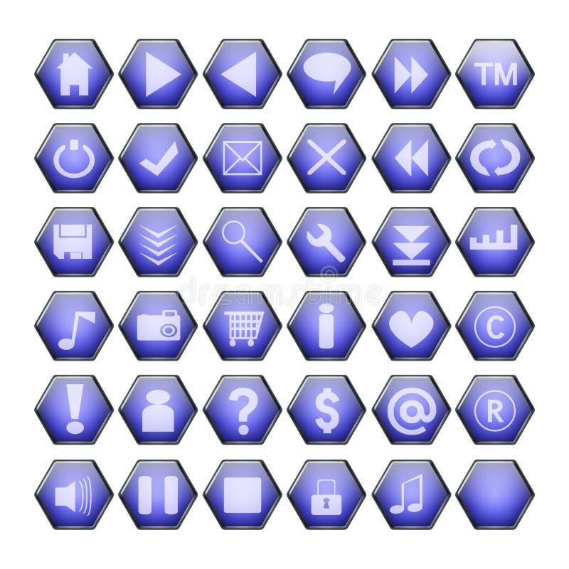 Blauwe Webknopen stock illustratie