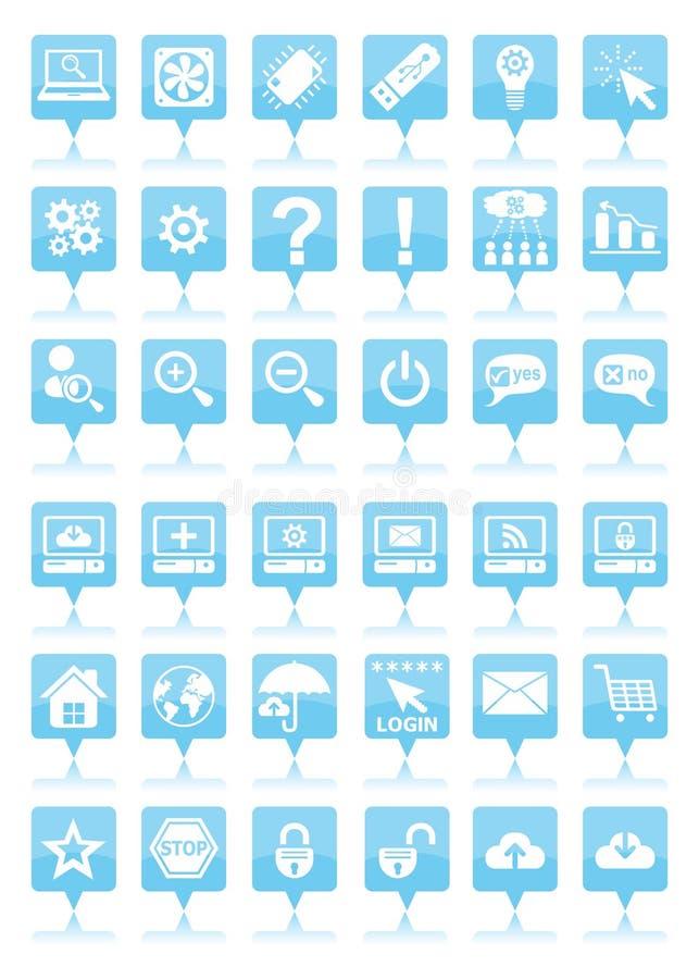 Blauwe Webpictogrammen stock illustratie