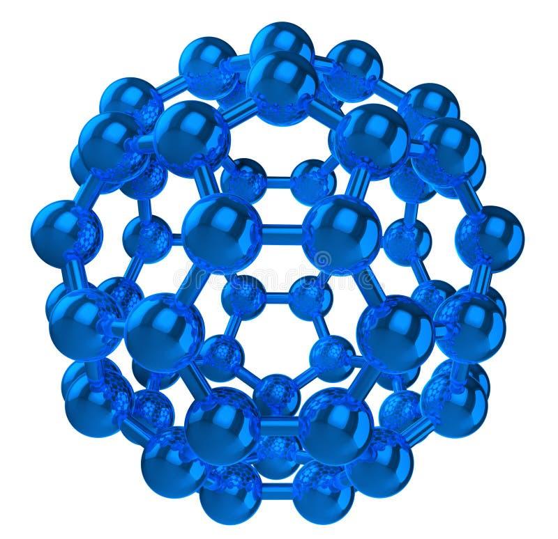Blauwe weerspiegelend fulleren moleculaire structuur royalty-vrije illustratie
