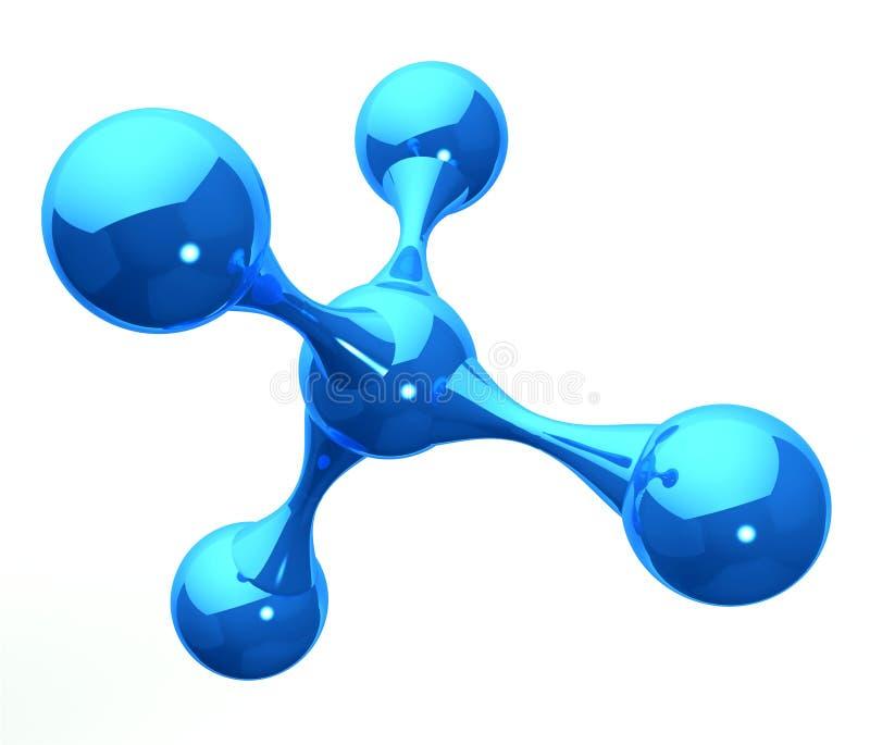 Blauwe weerspiegelende moleculaire structuur op wit royalty-vrije illustratie