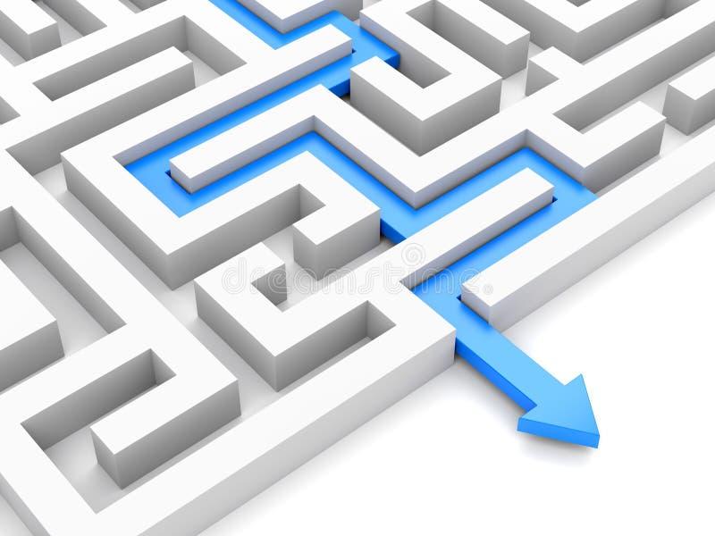 Blauwe weg over labyrint vector illustratie
