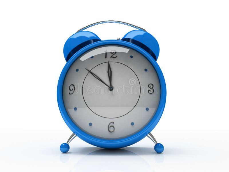Blauwe wekker die op witte 3D achtergrond wordt geïsoleerde stock illustratie