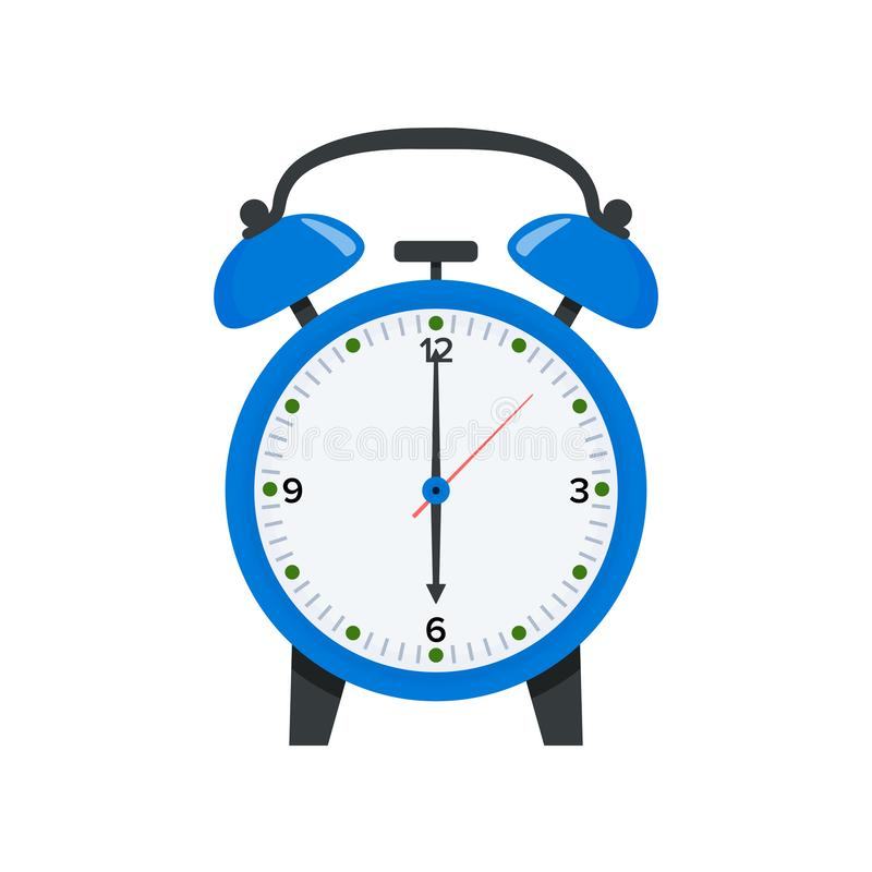 Blauwe wekker die zes o-klok in vlakke stijlillustratie tonen Kielzog op symbool 6 o-klokpictogram stock illustratie