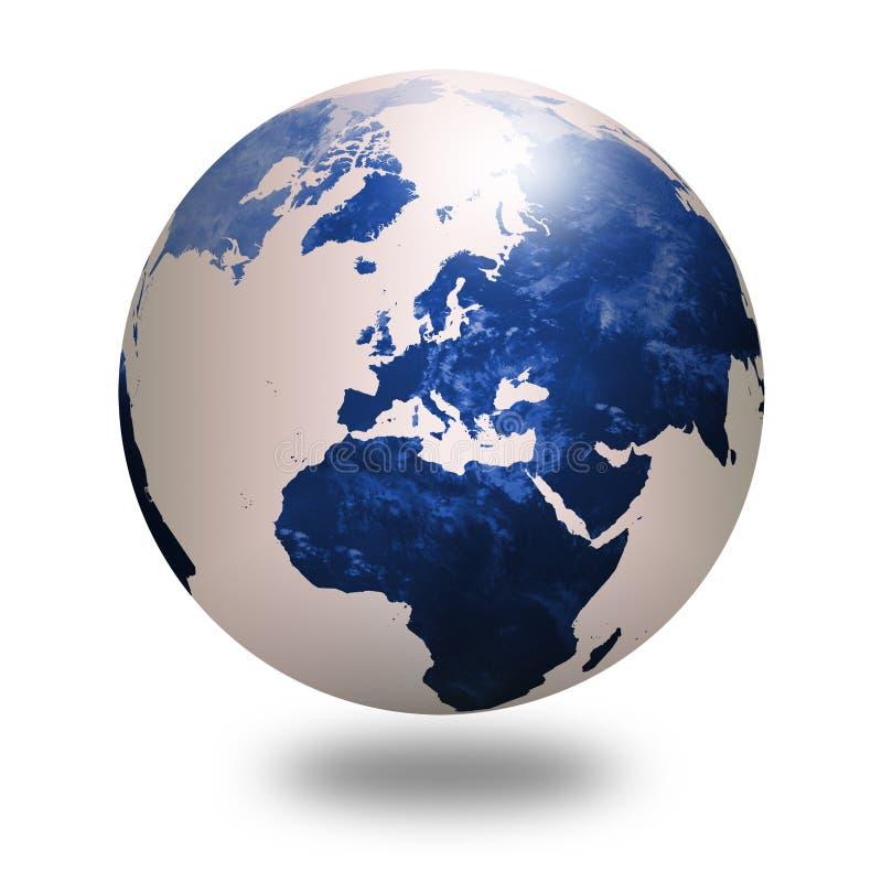Blauwe wereldbol 1 stock illustratie