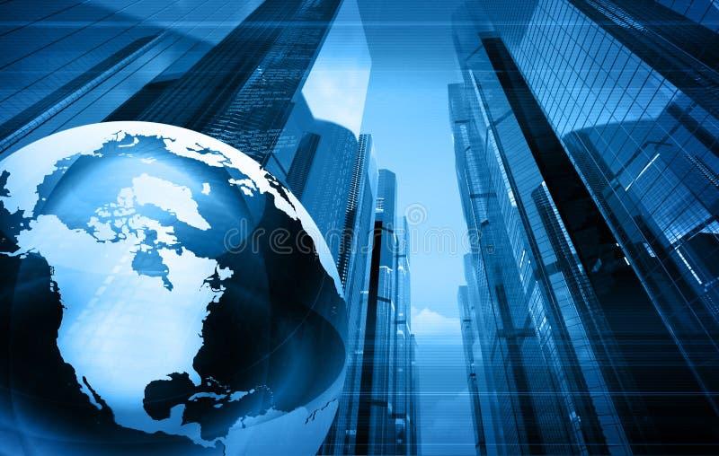 Blauwe wereldkaart stock illustratie