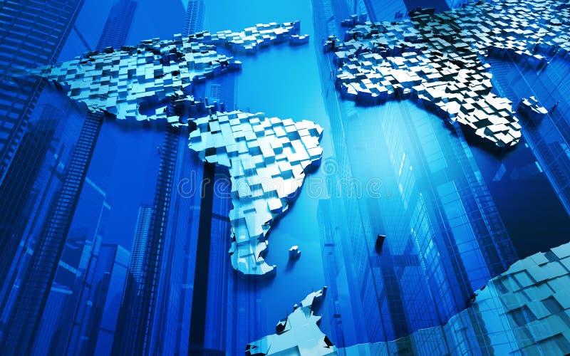 Blauwe wereldkaart en wolkenkrabbers stock illustratie