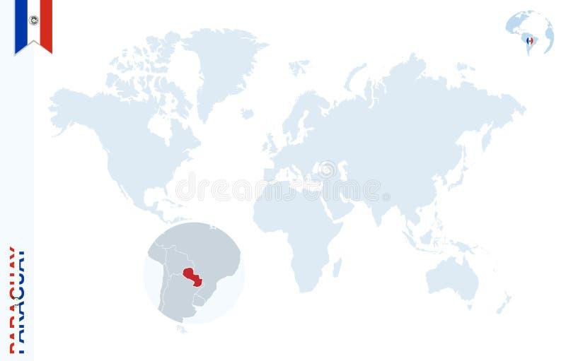 Blauwe wereldkaart met het overdrijven op Paraguay royalty-vrije illustratie