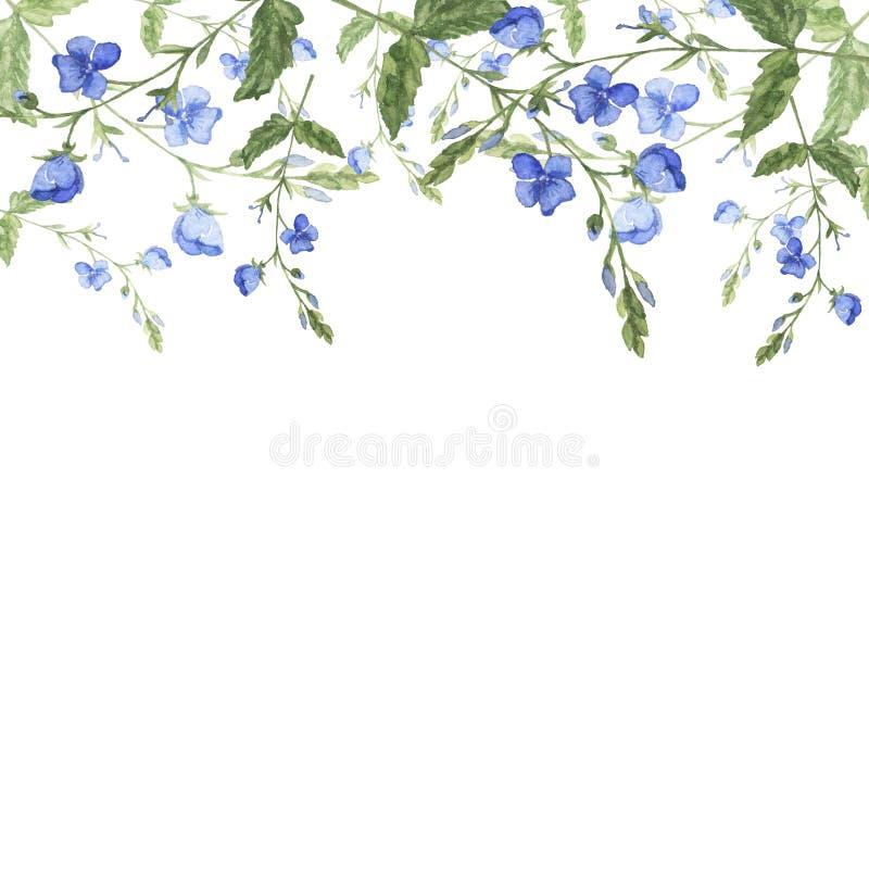 Blauwe wilde bosbloemengrens Hand getrokken waterverfillustratie royalty-vrije illustratie