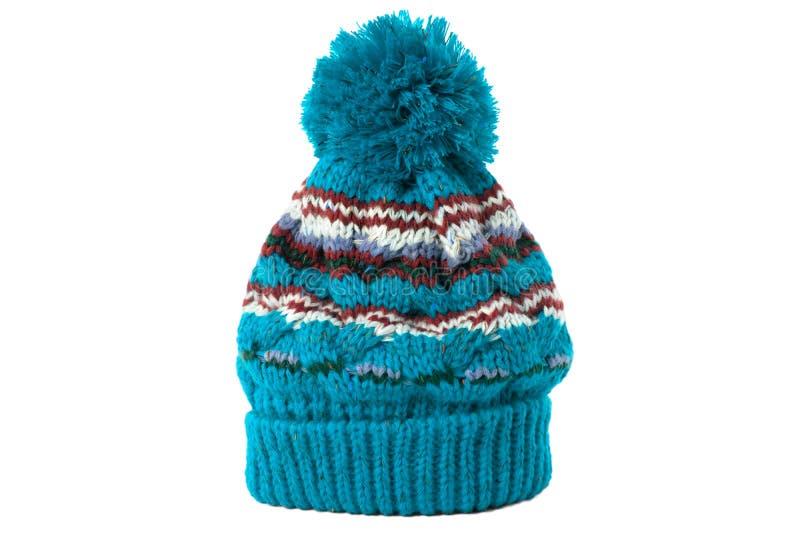 Blauwe wintermesst ski hoed geïsoleerd wit royalty-vrije stock afbeelding