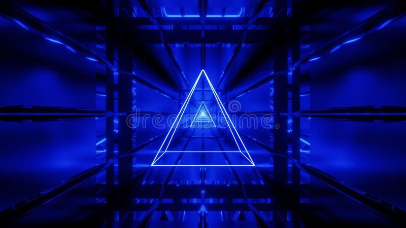 Blauwe wireframe met tunnel 3d behang als achtergrond geeft vjloop terug vector illustratie