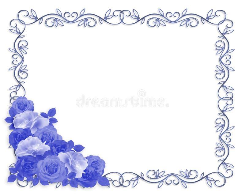 Blauwe wit van de Grens van rozen het Sier vector illustratie