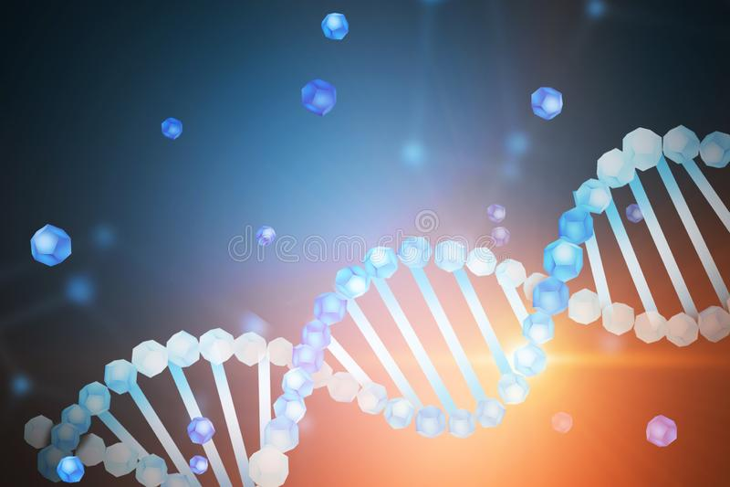 Blauwe witte DNA-schroef over blauwe achtergrond royalty-vrije illustratie
