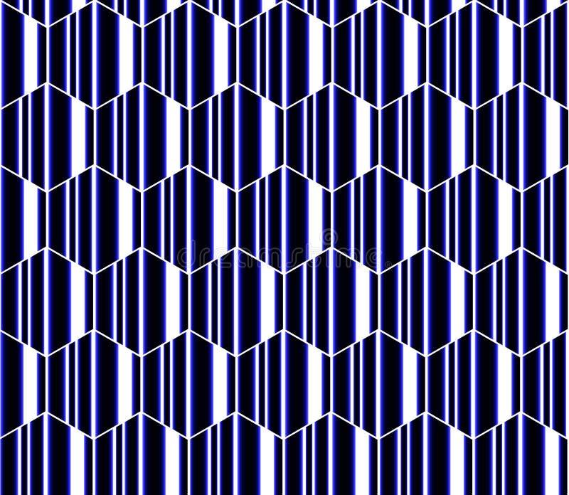 Blauwe, witte en zwarte gestreepte zeshoeken, honingraat naadloos patroon, moderne vectorachtergrond stock illustratie