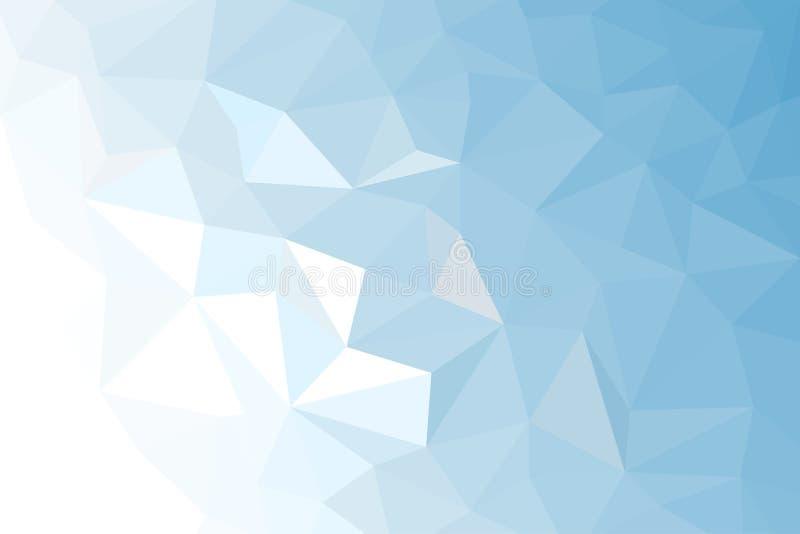 Blauwe Witte Lichte Veelhoekige Mozaïekachtergrond, royalty-vrije illustratie