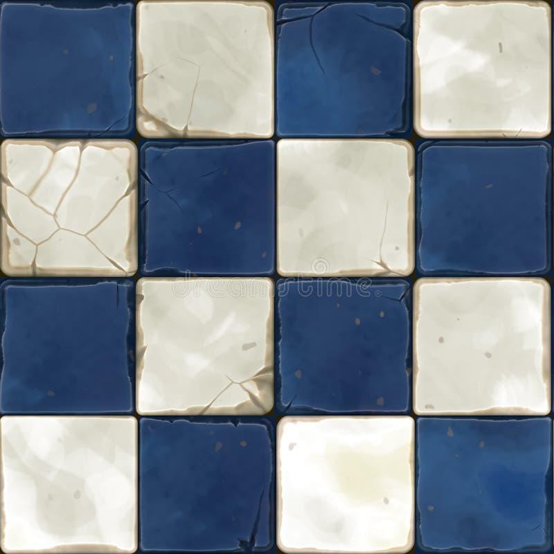 Blauwe witte naadloze tegels royalty-vrije illustratie