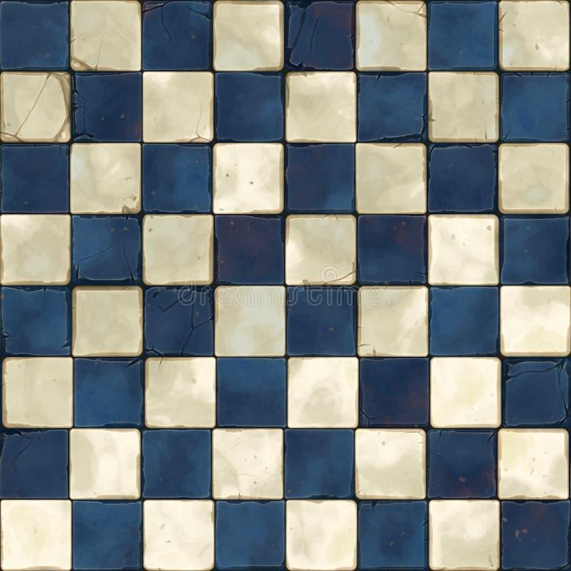 Blauwe witte naadloze tegels stock foto