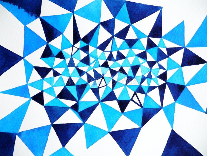 Blauwe witte veelhoek abstracte waterverf het schilderen illustratie als achtergrond stock illustratie