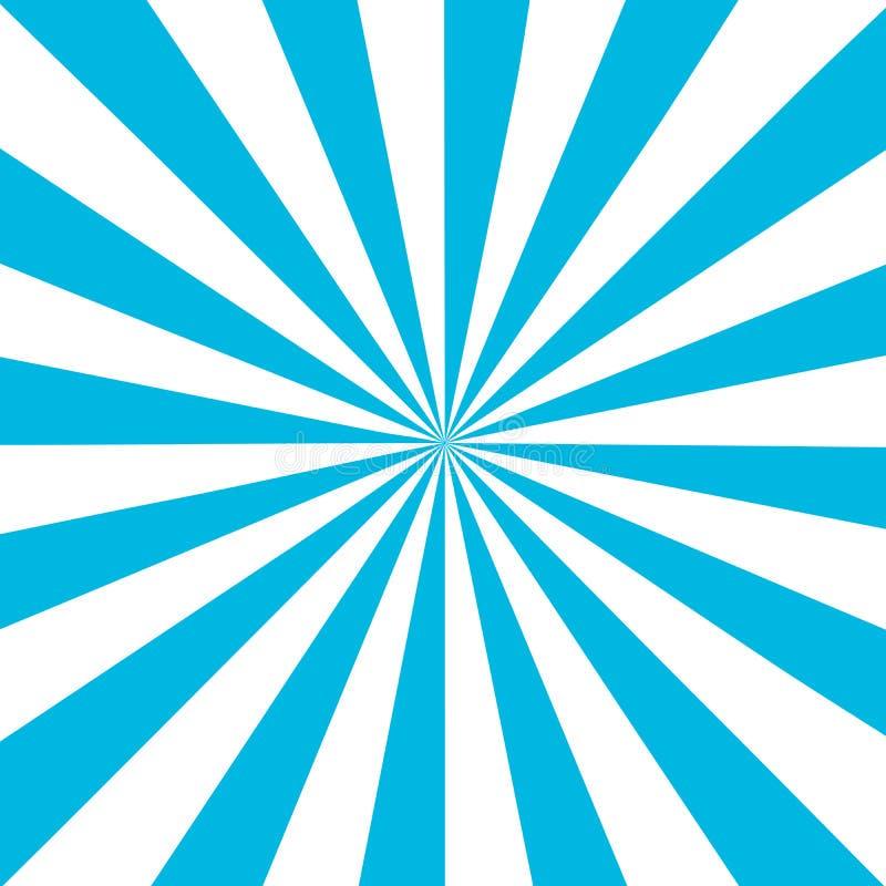 Blauwe witte zonnestraalachtergrond Blauw gestreept abstract behang Vector illustratie stock illustratie