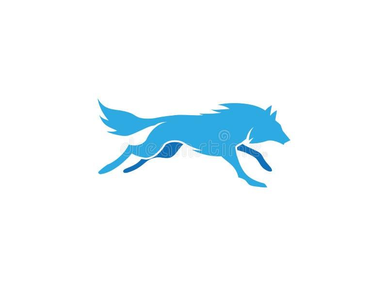 Blauwe wolf die of voor embleemontwerp lopen jagen stock illustratie