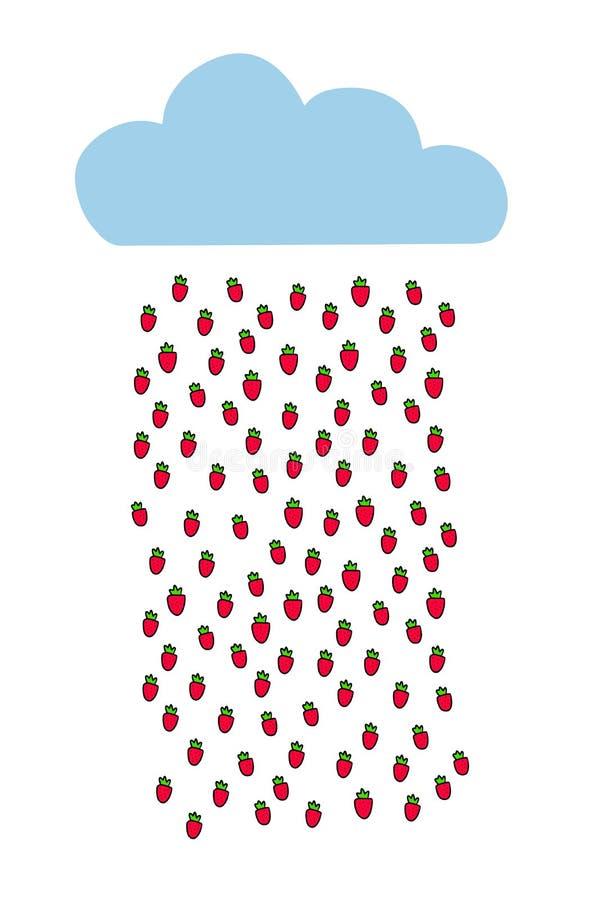 Blauwe wolk met de getrokken illustratie van de aardbeiregen hand voor jonge geitjesruimte stock illustratie
