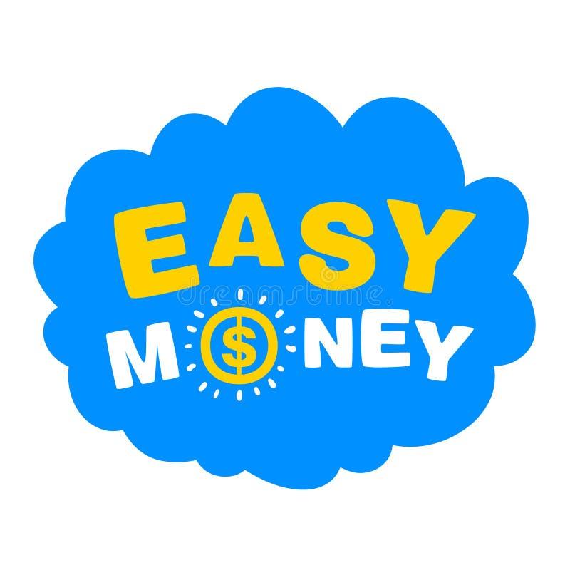 Blauwe wolk met het woorden gemakkelijke geld stock illustratie