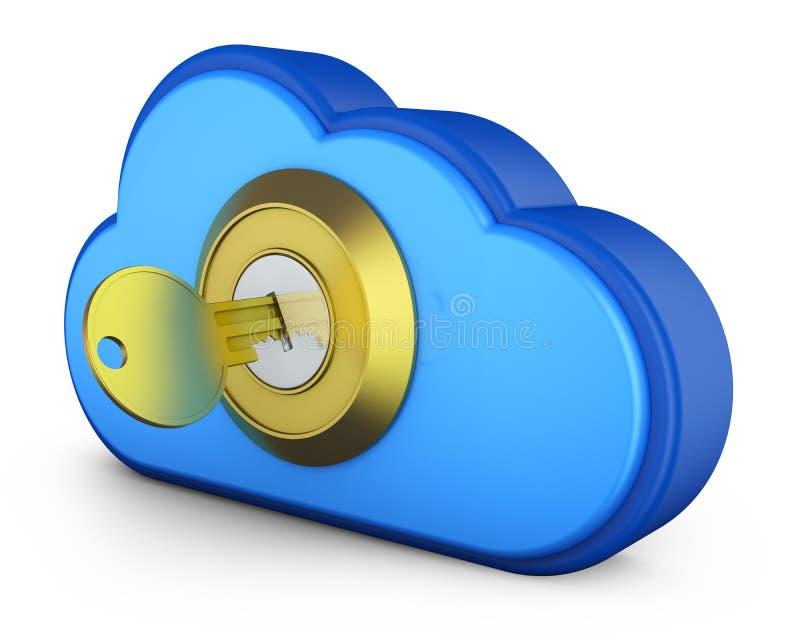 Blauwe wolk met sleutel royalty-vrije illustratie
