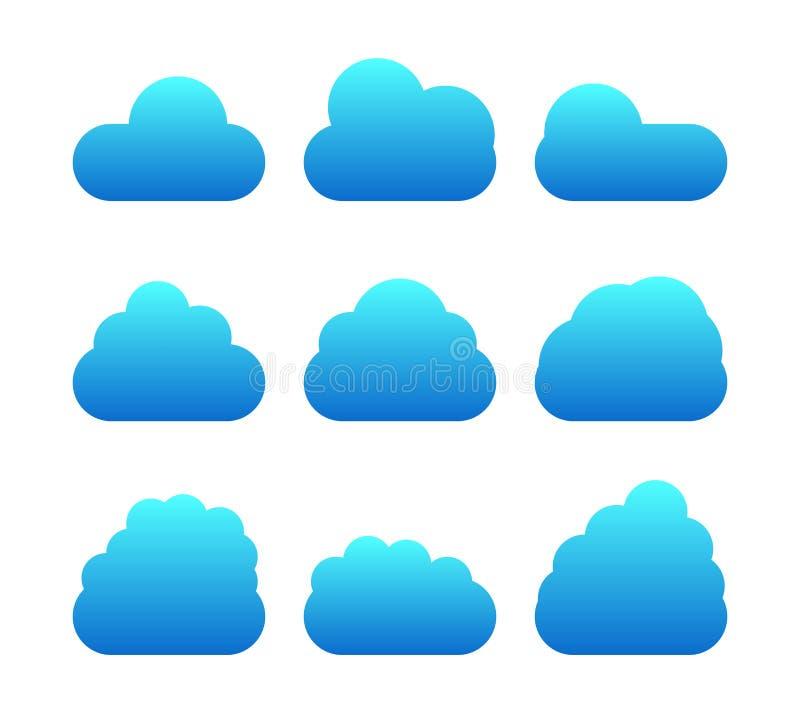 Blauwe wolken geplaatst die op witte achtergrond worden geïsoleerd Inzameling van wolken voor website, affiche, app en behang Cre stock foto's