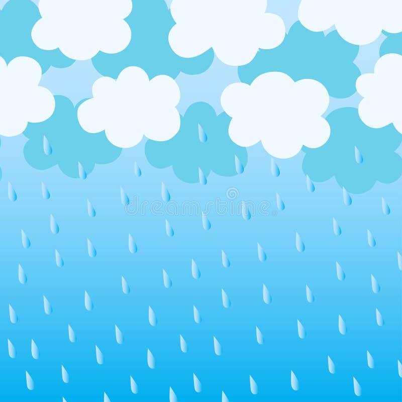 Blauwe wolken met regendalingen stock illustratie