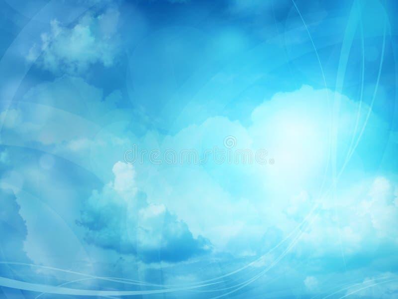 Blauwe wolkenachtergrond vector illustratie