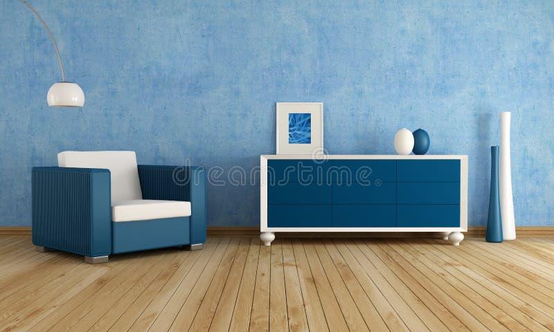 Blauwe woonkamer royalty-vrije illustratie