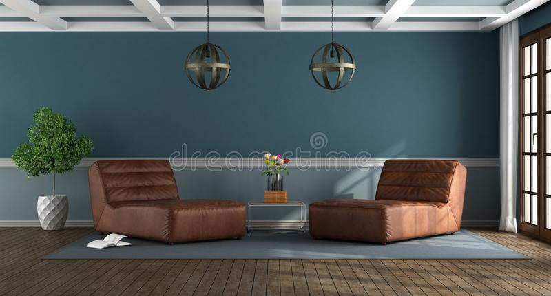 Blauwe woonkamer met jachtzitkamers stock foto's