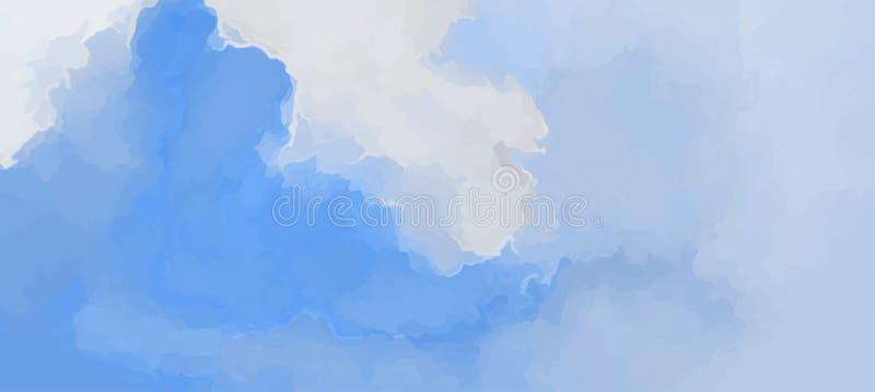 Blauwe zachte de ochtendzonsopgang van de wolken toneelachtergrond Hand geschilderde waterverfhemel en wolken, abstracte achtergr royalty-vrije illustratie