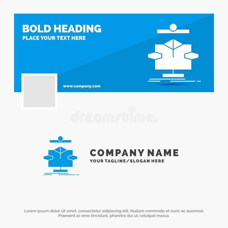 Blauwe Zaken Logo Template voor Algoritme, grafiek, gegevens, diagram, stroom Facebook-het Ontwerp van de Chronologiebanner De ve vector illustratie