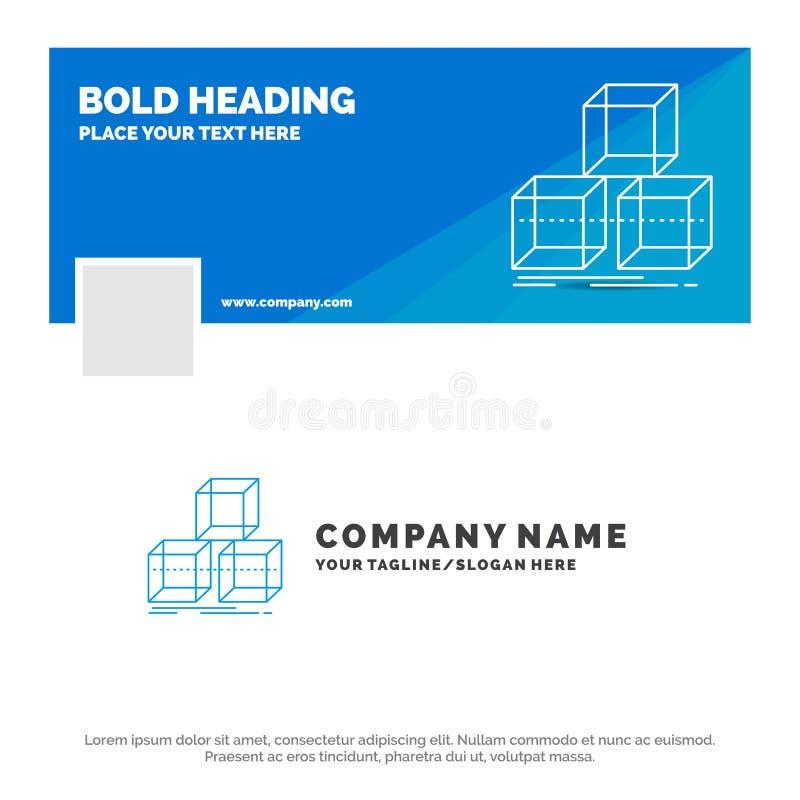 Blauwe Zaken Logo Template voor Arrange, ontwerp, 3d stapel, doos Facebook-het Ontwerp van de Chronologiebanner de vectorachtergr vector illustratie