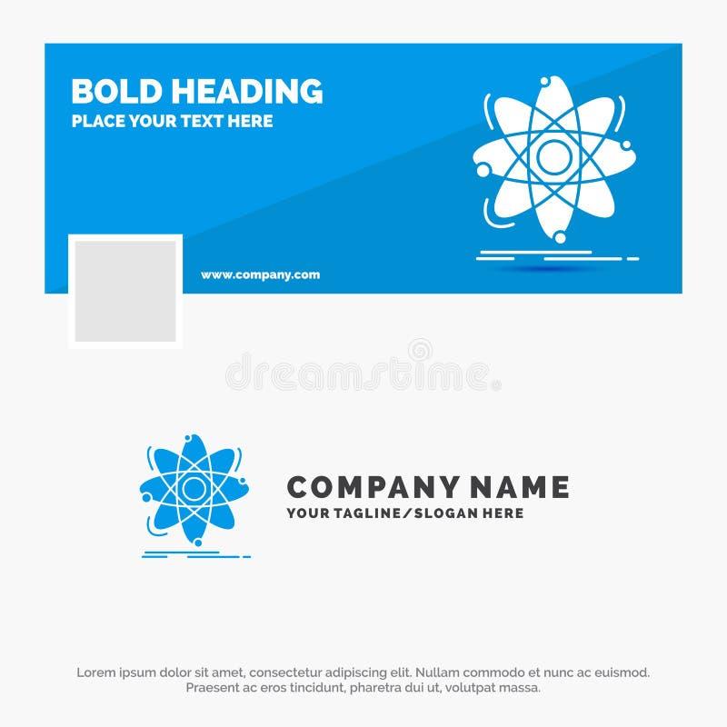 Blauwe Zaken Logo Template voor Atoom, wetenschap, chemie, Fysica, kern Facebook-het Ontwerp van de Chronologiebanner De vector B stock illustratie