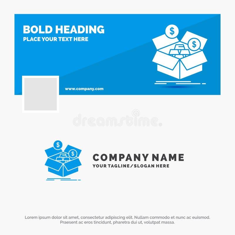 Blauwe Zaken Logo Template voor besparingen, doos, begroting, geld, de groei Facebook-het Ontwerp van de Chronologiebanner de vec vector illustratie