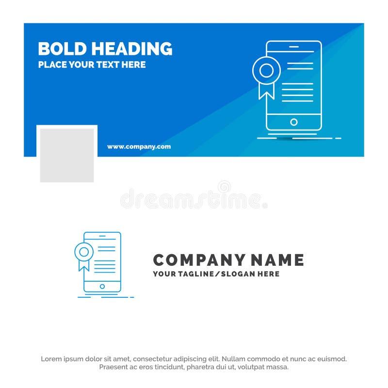 Blauwe Zaken Logo Template voor certificaat, certificatie, App, toepassing, goedkeuring Facebook-het Ontwerp van de Chronologieba stock illustratie