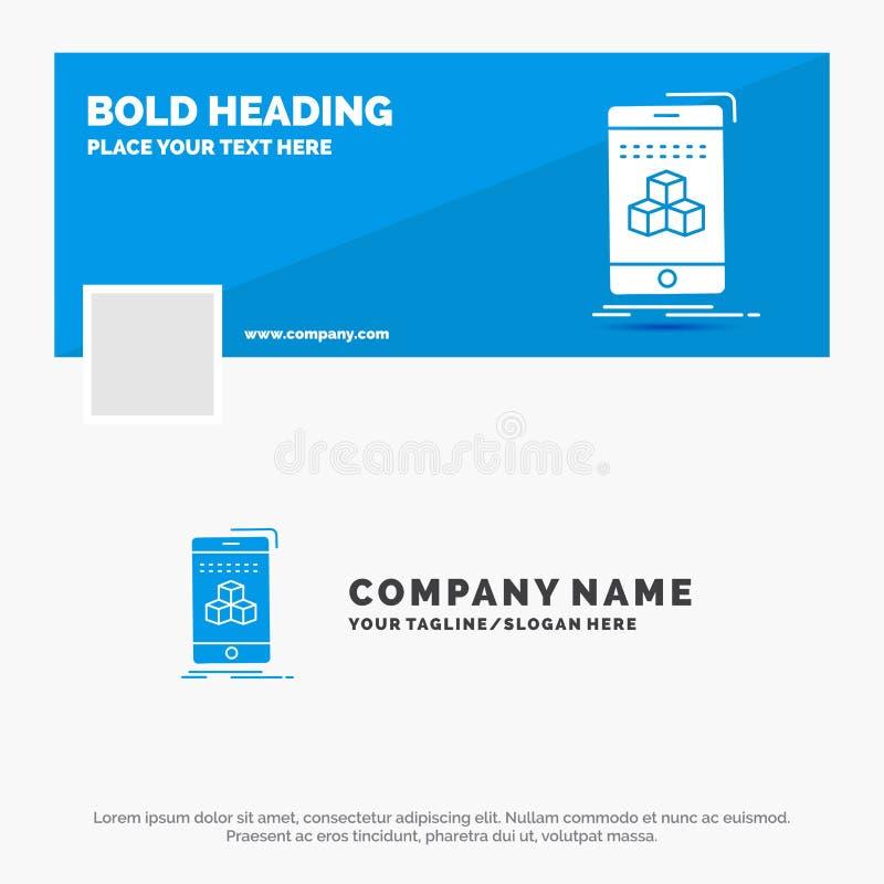 Blauwe Zaken Logo Template voor 3d doos, kubus, smartphone, product Facebook-het Ontwerp van de Chronologiebanner de vectorachter royalty-vrije illustratie