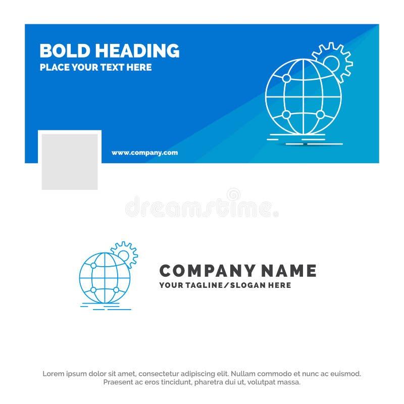 Blauwe Zaken Logo Template voor internationaal, zaken, over de hele wereld bol, toestel Facebook-het Ontwerp van de Chronologieba royalty-vrije illustratie